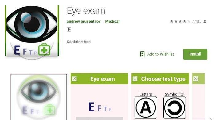 Aplikasi Eye Exam di Play Store