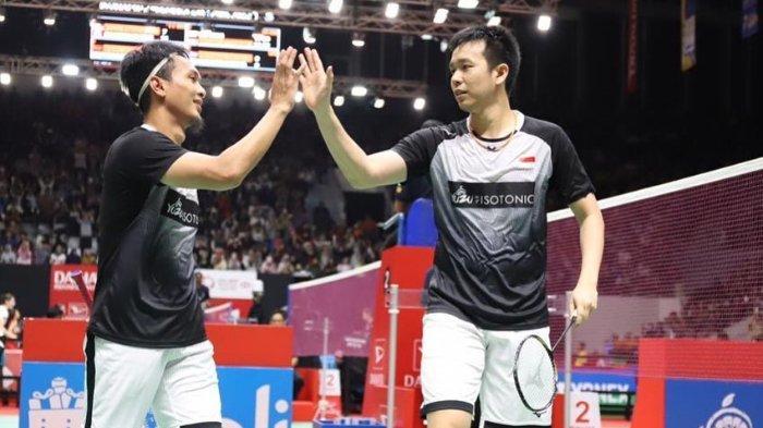 Atlet badminton ganda putra Mohammad Ahsan/Hendra Setiawan saat Malaysia Masters 2020.