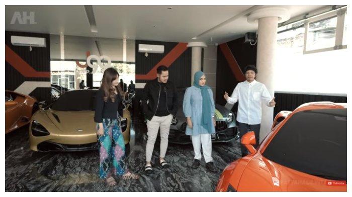 Atta Halilintar dan Aurel Hermansyah terpukau melihat koleksi supercar di garasi Gilang Widya dan Shandy Purnamasari, Rabu (16/6/2021).