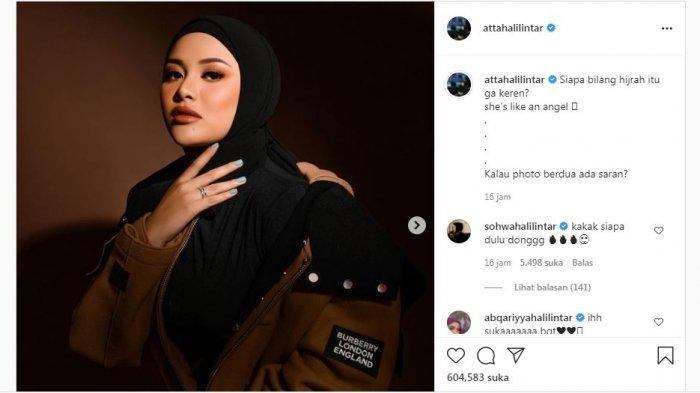 Atta Halilintar mengunggah foto Aurel Hermansyah saat mengenakan busana tertutup, Senin (7/6/2021).