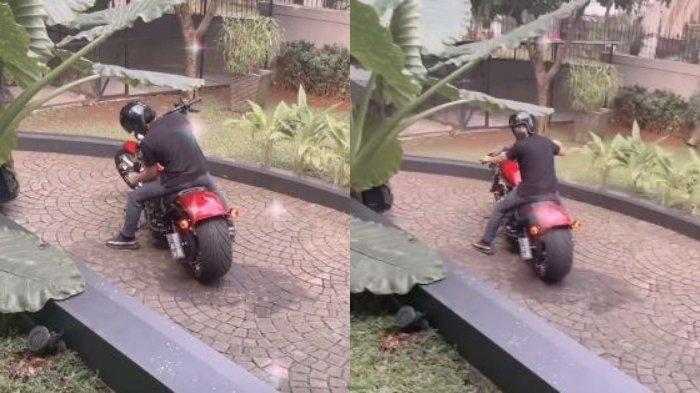 Kolase unggahan Aurel Hermansyah yang menampilkan Atta Halilintar sedang naik motor gede, Rabu (21/7/2021).