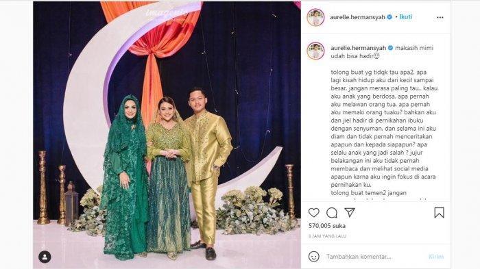 Aurel Hermansyah mengunggah foto kebersamaannya dengan Krisdayanti dan Azriel Hermansyah, Selasa (23/2/2021).