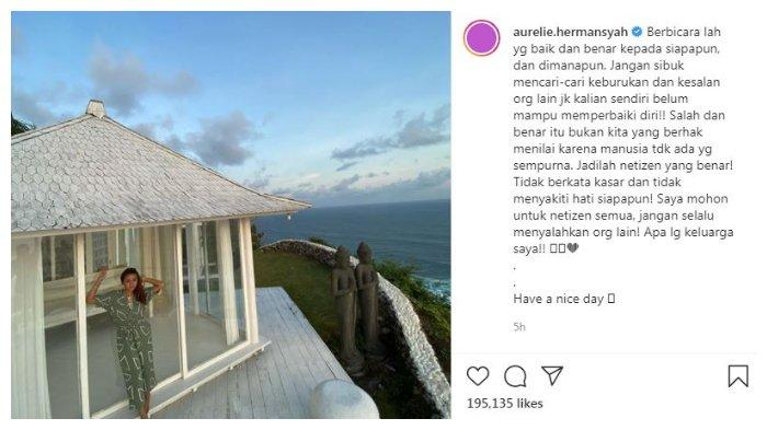 Aurel Hermansyah peringatkan netizen untuk tidak asal menyalahkan orang lain, terutama keluarganya, Kamis (24/9/2020).