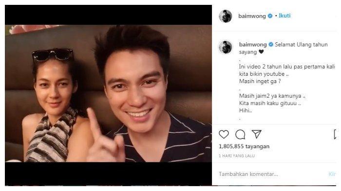 Postiongan Instagram Baim Wong mememberi ucapan ulang tahun pada Paula Verhoeven, Jumat (18/9/2020).