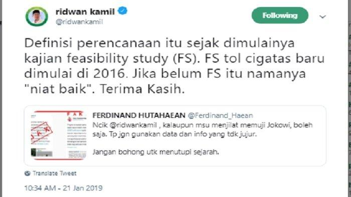 Balasan Ridwan Kamil soal tudingan Ferdinand Hutahaean