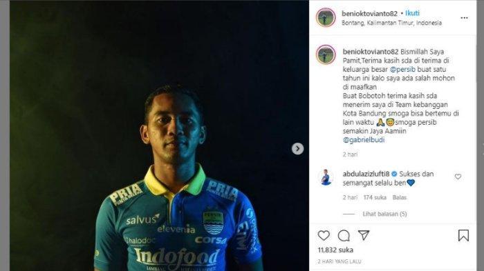 Beni Oktovianto tiba-tiba menuliskan salam perpisahan dengan Persib Bandung, pada Senin (22/2/2021).