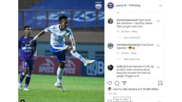 Bobotoh beri saran agar Febri Haryadi bisa digantikan oleh Beckham Putra dalam akun Instagram Persib Bandung pada Minggu (12/9/2021).