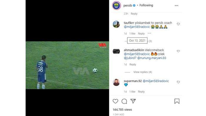 Bobotoh meminta Miljan Radovic melatih Persib Bandung dalam akun Instagram @persib pada Rabu (13/10/2021).