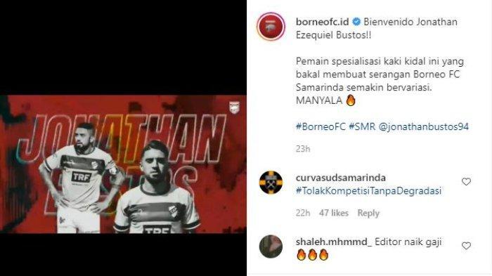 Borneo FC resmi mendatangkan pemain asal Argentina Jonathan Bustos, Rabu (26/5/2021).