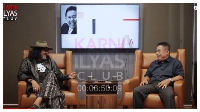 Budayawan Sudjiwo Tedjo (kiri) dan Karni Ilyas (kanan) dalam kanal YouTube Karni Ilyas Club, Sabtu (23/1/2021).