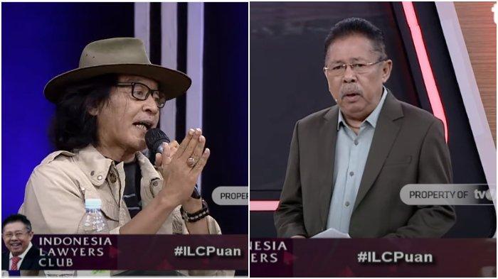 Kolase Budayawan Sujiwo Tejo dan Karni Ilyas dalam acara Indonesia Lawyers Club (ILC), Selasa (8/9/2020).