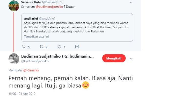 Politikus PDI Perjuangan Budiman Sudjatmiko memberikan tanggapan atas kicauan Mantan Kader Partai Demokrat, Andi Arief yang sebut Budiman gagal masuk ke parlemen.