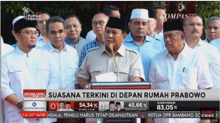 Klaim Menang, Prabowo Imbau Pendukung untuk Hati-hati dengan Lembaga Survei: Banyak Kecurangan