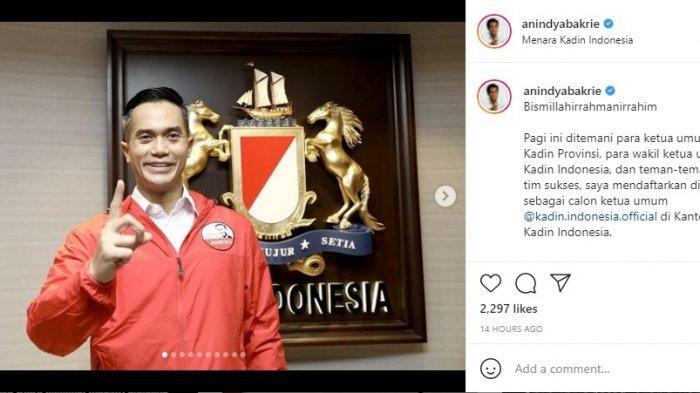 Anindya Bakrie anak dari pengusaha terkenal Aburizal bakrie, membagikan foto kegiatan saat ia mendaftarkan diri di Kantor Kadin Indonesia, Senin (24/5/2021).