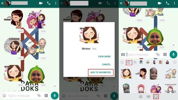 Cara menyimpan stiker WahatsApp yang dikirimkan teman Anda. (Kolase TribunWow)
