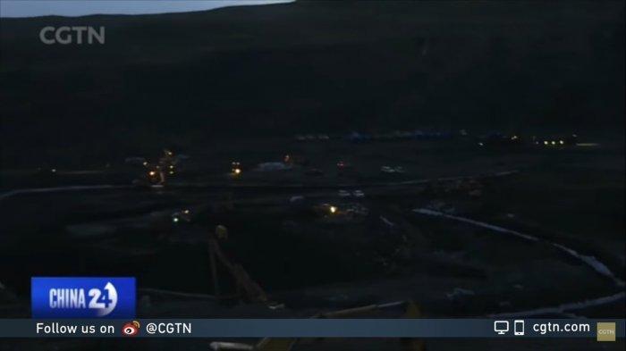 Proses pencarian 19 penambang batu bara Chaidaer di Provinsi Qinghai, China pada 16 Agustus 2021.