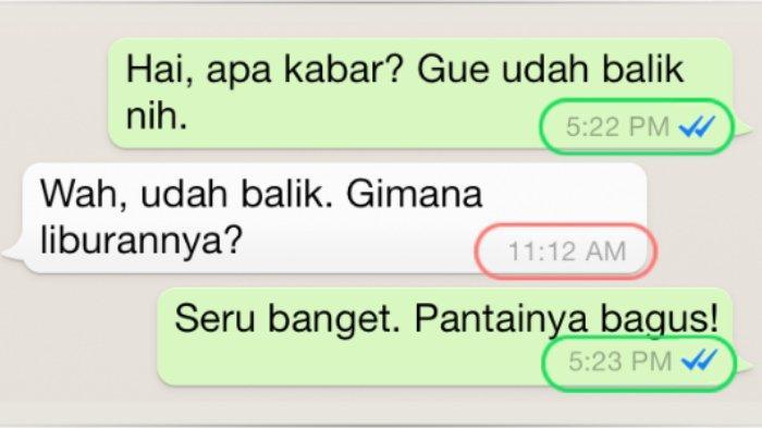Contoh cap waktu yang ditampilkan WhatsApp salah