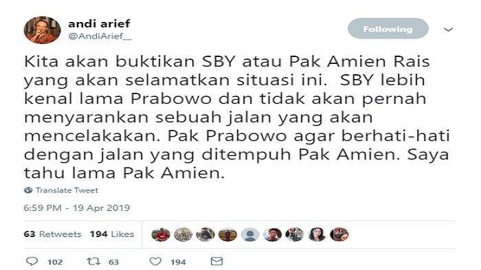 Cuitan Andi arief soal Amien Rais (capture/Twitter)