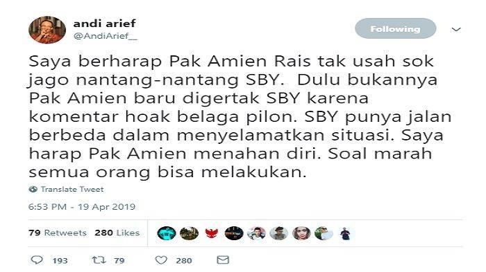 Cuitan Andi Arief soal Amien Rais