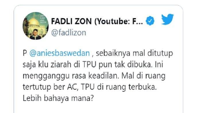 Cuitan Fadli Zon terkait larangan ziarah kubur saat Idul Fitri 2021 di DKI Jakarta, Jumat (14/5/2021).