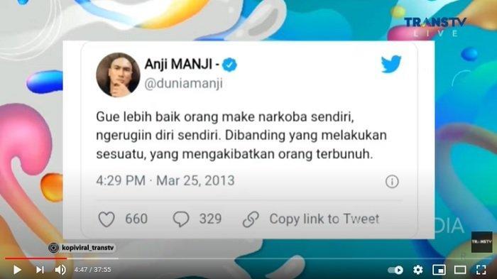 Cuitan Twitter Anji Manji soal narkoba