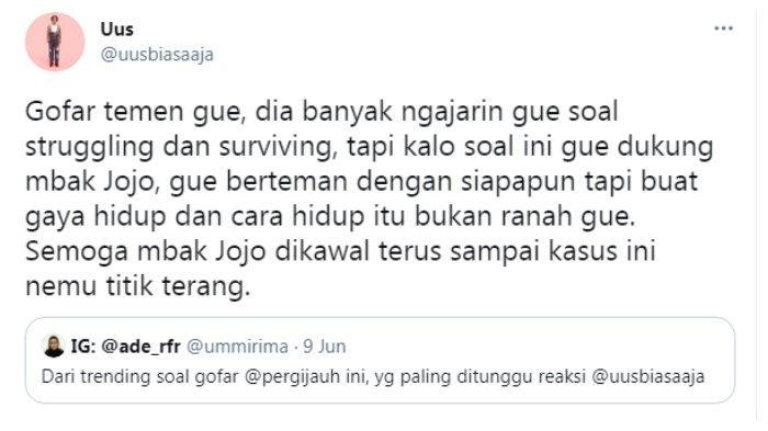 Cuitan Uus soal kasus Gofar Hilman, Kamis (10/6/2021).