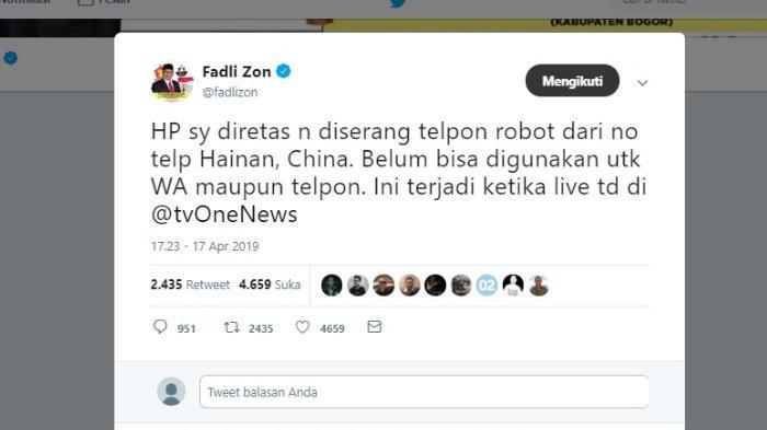 Kicauan Fadli Zon soal ponselnya yang telah diretas, Rabu (17/4/2019).