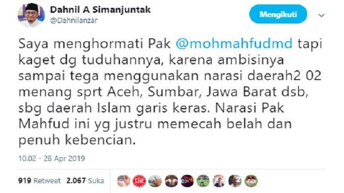 Kicauan Dahnil Anzar tanggapi pernyataan Mahfud MD, Minggu (28/4/2019).