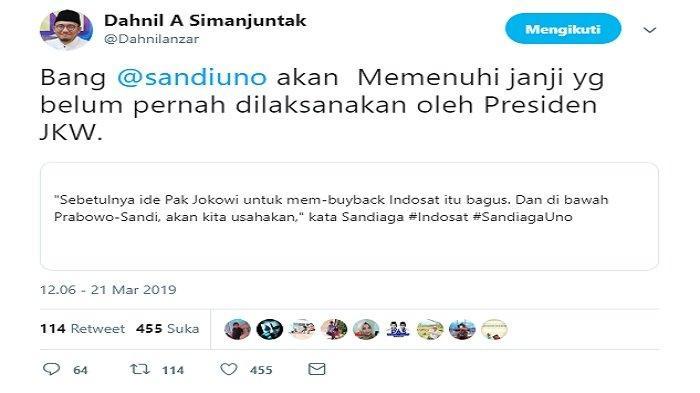 Kicauan Dahnil Anzar tanggapi tekad Sandiaga Uno untuk membeli kembali saham Indosat Ooredoo, Kamis (21/3/2019).