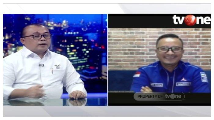 Wakil Sekretaris Jenderal (Sekjen) Partai Demokrat kubu Moeldoko, Muhammad Rahmad (kiri), dan Wasekjen Partai Demokrat kubu Agus Harimurti Yudhoyono (AHY) Renanda Bachtiar (kanan), dalam kanal YouTube tvOneNews, Jumat (26/3/2021). Keduanya berdebat soal kasus Hambalang yang kini kembali menjadi bahan pembicaraan.