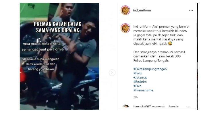 Unggahan akun Instagram @ind_uniform, Sabtu (31/7/2021). Dalam unggahan tersebut, tampak seorang preman berupaya memeras sopir truk namun gagal.