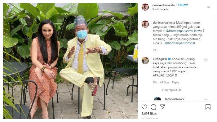 Denise Chariesta tagih Hotman Paris di Instagram, Minggu (23/11/2020).
