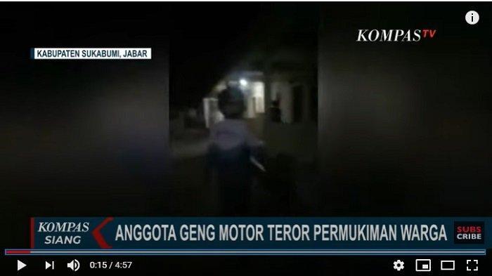 Detik-detik Geng Motor Teror Permukiman Warga di Sukabumi dengan Senjata Tajam, Saksi: 9 Orang