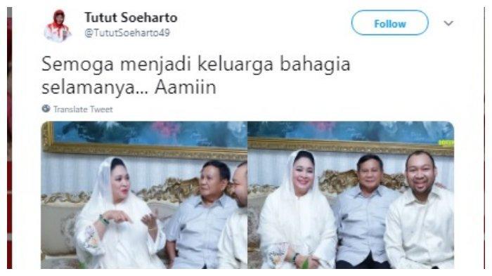 Doa Tutut Soeharto untuk keluarga Prabowo