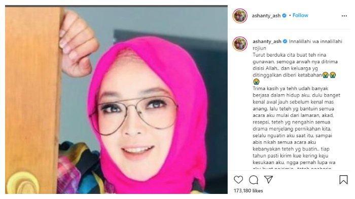 Duka cita Ashanty untuk Rina Gunawan yang meninggal dunia pada Selasa, (2/3/2021).
