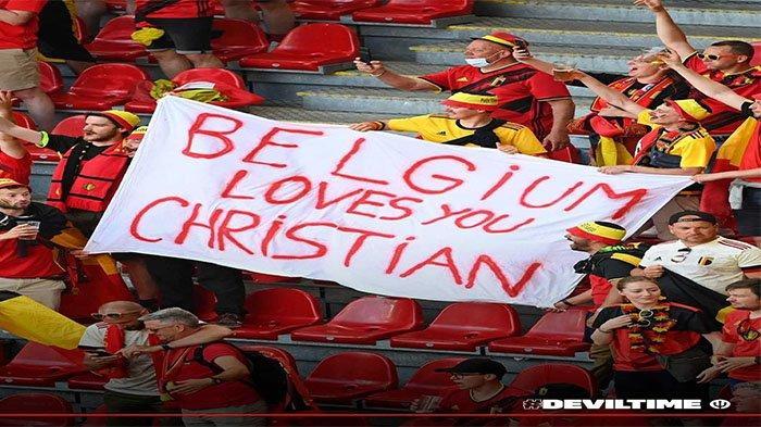 Momen Dukungan untuk Christian Eriksen di laga Denmark Vs Belgia pada postingan Instagram @belgianreddevils pada 17 Juni 2021.