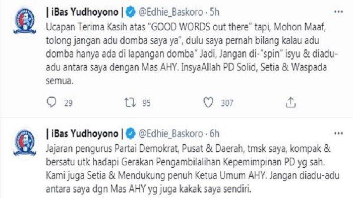 Edhie Baskoro Yudhoyono atau akrab disapa Ibas akhirnya buka suara soal pembicaraan mengenai dirinya yang didukung untuk menjadi Sekjen Partai Demokrat bersama Kepala KSP Moeldoko sebagai Ketum Demokrat, Ibas menegaskan dirinya tetap akan setia kepada sang kakak yakni Agus Harimurti Yudhoyono (AHY) yang saat ini menjabat sebagai ketum partai. Sabtu (27/2/2021).