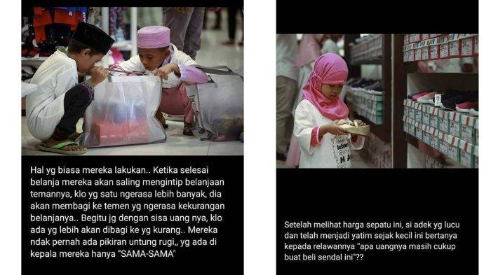 Ekspresi anak-anak yatim saat berbelanja dan memilih pakaian di Epicentrum mall, di Mataram, Lombok.