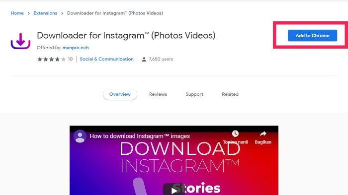 Extensions 'Download for Instagram'