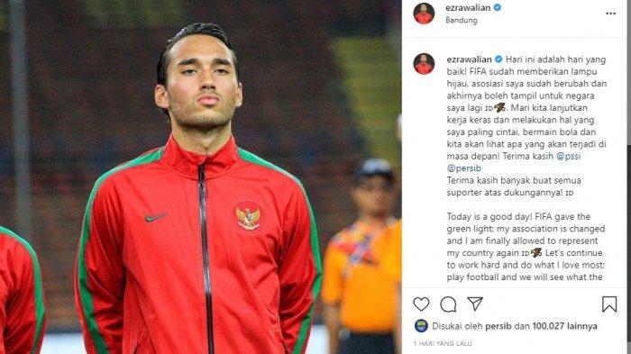 Ezra Walian membagikan momen bahagianya di Instagram pribadinya @ezrawalian, saat mengetahui dirinya diperbolehkan FIFA membela Timnas Indonesia di kompetisi apapun.