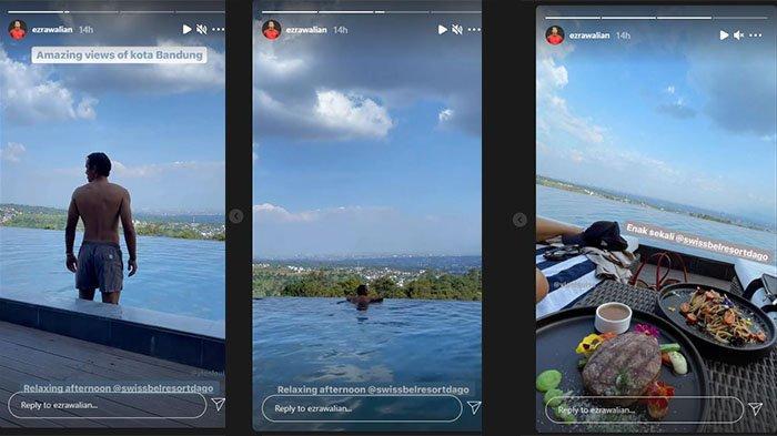 Ezra Walian lakukan relaksasi jelang laga perdana Persib Bandung di Liga 1 2021 pada postingan Instagram Story @ezrawalian pada 1 September 2021.
