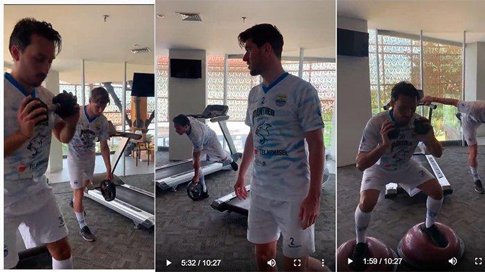 Latihan Ezra Walian bersama Persib Bandung setelah alami cedera di laga kontra Persebaya Surabaya.