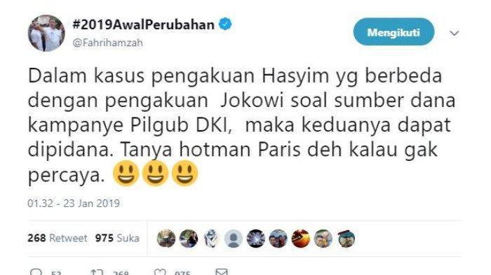 Wakil Ketua DPR RI Fahri Hamzah memberikan tanggapan soal pengakuan Presiden Joko Widodo ( Jokowi) terkait sumber dana kampanye kala mengikuti pemilihan gubernur DKI Jakarta 2012.