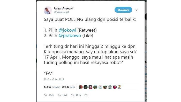 Hasil polling sementara dari Faizal Assegaf.