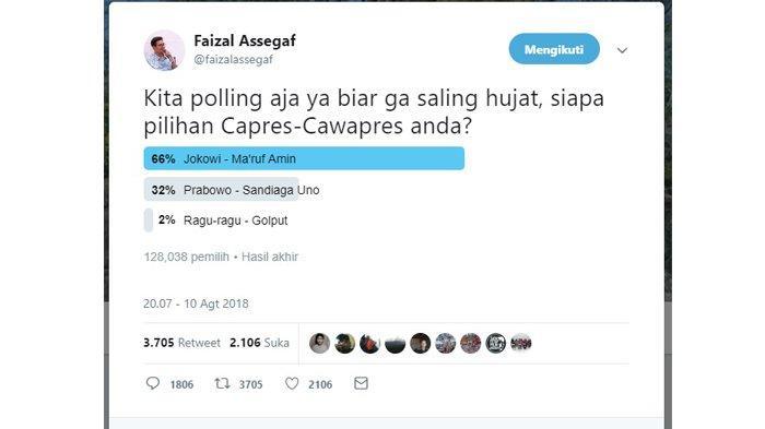 Hasil polling dari Faizal Assegaf pada 10 Agustus 2018.