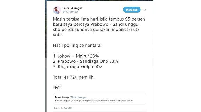 Polling pilpres dari Faizal Assegaf pada 12 Agustut 2018.