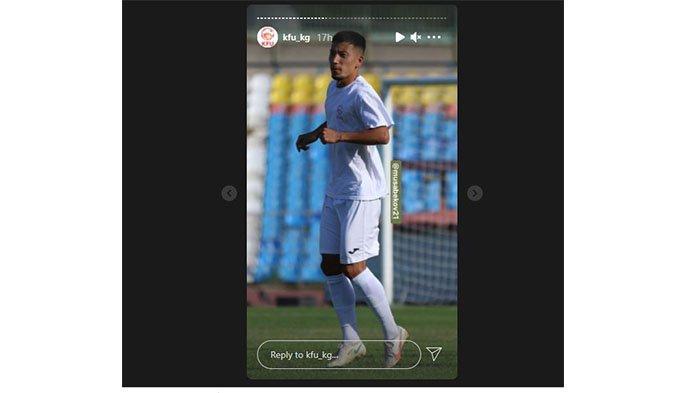 Momen latihan terakhir Farkhat Musabekov di Kyrgyzstan sebelum berangkat ke Jepang pada postingan Instagram Story @kfu_kg pada 1 Juni 2021.