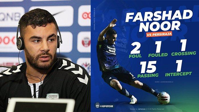 Farshad Noor (kiri) pada postingan Instagram @farshadnoor8 pada 24 November 2020 dan Statistik Farshad Noor pada postingan Instagram @igpersib pada 4 April 2021. Farshad Noor akui belum memberikan penampilan maksimal di laga debutnya.