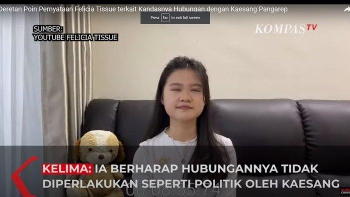 Felicia Tissu saat mengungkapkan poin-poin penting terkait hubungan asmaranya dengan Kaesang pada Youtubenya, Rabu (26/5/2021).