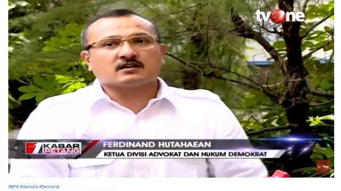 Ketua Divisi Advokasi dan Bantuan Hukum DPP Partai Demokrat, Ferdinand Hutahaean membeberkan alasan partainya menyatakan pendapatnya untuk membubarkan koalisi pendukung Prabowo Subianto-Sandiaga Uno.